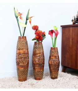 Wooden Tribal Thread Vase