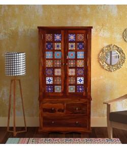Adolph Solid Wood 2 Door Wardrobe in Honey Oak Finish