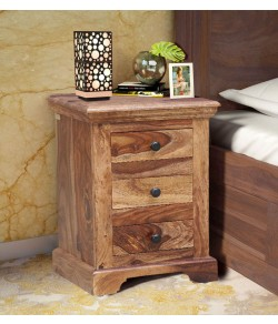 Denzel Bed Stanfield Solid Wood Bedside Chest in Rustic Teak Finish