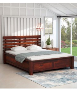 drew Solid Wood King Size Bed with Storage in Honey Oak Finish