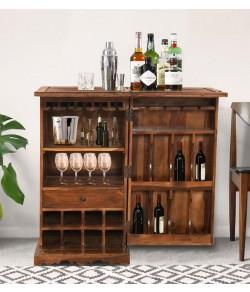 Dumont Bar Cabinet In Honey Finish