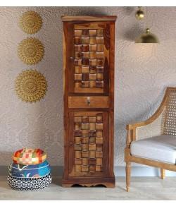 Boho Solid Wood 1 Door Wardrobe in Provincial Teak Finish