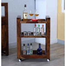 Delroy Bar Wooden Bar Trolley/Serving Trolley/Wooden Service Trolley (Sheesham Wood) (Teak Wood Shade)(foulding)