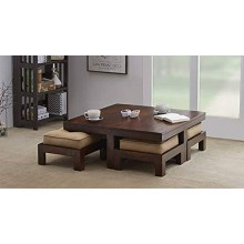 Petlin Wooden Center Table for Living Room with 4 Stools , Beige Cushions (Brown)