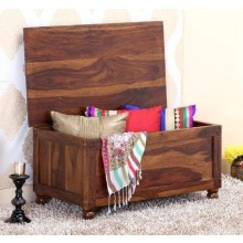 Dyce Wooden Trunk Seating Stool/Storage Stool Pure sheesham Wood