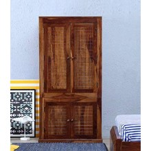 Hout Sheesham Wood Double Doors Wardrobe External Storage Cabinet