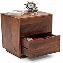 Felton Bed Wood Bedside End Table with Drawers for Living Room