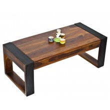 Vinessa Wood Coffee Table Teak Color Top & Dark Walnut Legs