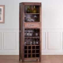beleaguer  Sheesham Wood Bar Cabinet with Wine Glass Storage for Home (Natural Teak)