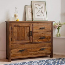 Jett Sheesham Wood Sideboard Cabinet for Living Room Furniture 3 Drawers 1 Cabinet Storage Natural Honey Finish