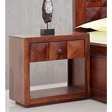 Alanzo Bed Furniture Solid Wood Bed Side End Table with 1 Drawer for Bedroom