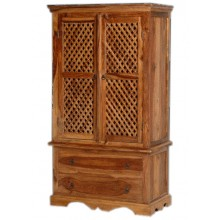 Adolph Sheesham Wood Multipurpose Storage Wardrobe Almirah for Bedroom Brown
