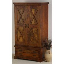 Ayasa Solid Wood 2 Door Wardrobe in Honey