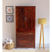 Walken Solid Wood 2 Door Wardrobe in Honey Oak Finish