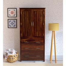 Tim Extendable Solid Wood 2 Door Wardrobe in Provincial Teak Finish