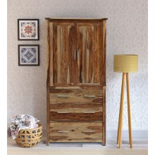 Walken Solid Wood 2 Door Wardrobe in Rustic Teak Finish
