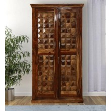 Drewno Carved Two Door Wardrobe In Honey Finish