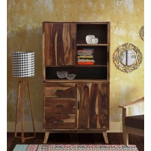 Portus Solid Wood Book Shelf In Rustic Teak Finish