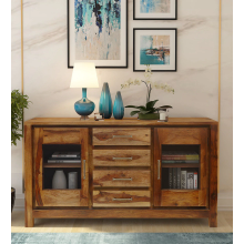 Hurtado Solid Wood Sideboard in Rustic Teak Finish