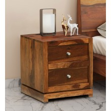 Harley Bed Gilliane Solid Wood Bedside Chest in Rustic Teak Finish