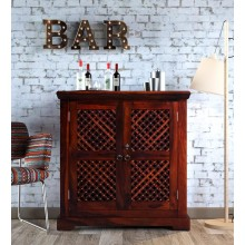 Lynton Bar Cabinet in Honey Oak Finish