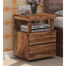 Walken Bed Leo Solid Wood Night Stand in Rustic Teak Finish