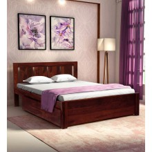Adolph Solid Wood Queen Size Bed with Storage in Honey Oak Finish