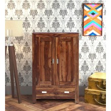Denzel Solid Wood 2 Door Wardrobe in Rustic Teak Finish