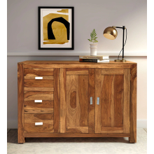 Kerry Solid Wood Sideboard in Rustic Teak Finish