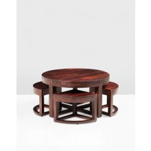 Mason Nest Sheesham Wood Round Table Set