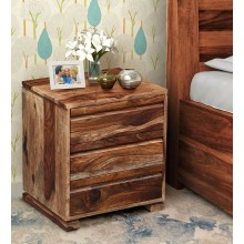 Morse Bed Segur Solid Wood Bedside Chest in Rustic Teak Finish