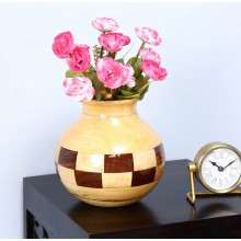 Multicolour Solid Sheesham Wood Vase