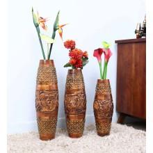 Wooden Tribal Thread Vase