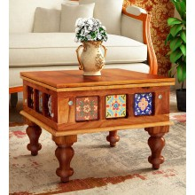 Liddle Solid Wood Coffee Table in Honey Oak Finish