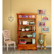 Lacey Solid Wood Book Shelf in Honey Oak Finish