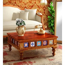 Stacy Solid Wood Coffee Table in Honey Oak Finish