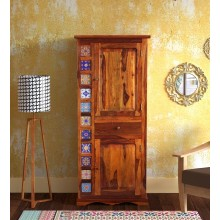 Harley Solid Wood 1 Door Wardrobe in Honey Oak Finish