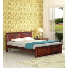 Wooden King Size Bed in Honey oak Finish