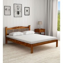 Morse Solid Wood Queen Size Bed in Rustic Teak Finish