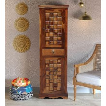 Boho Solid Wood 1 Door Wardrobe in Provincial Teak Finish